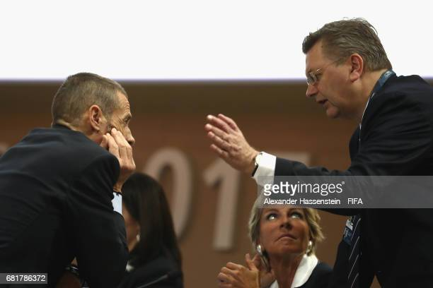 Council Member and President of the German Football Association Reinhard Grindel talks to FIFA Council Member Evelina Christillin and FIFA Council...