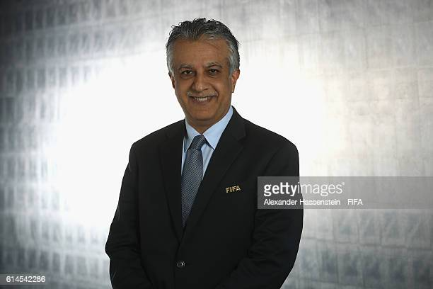 Council member Sheikh Salman Bin Ebrahim Al Khalifa poses during a Portrait session at the FIFA headquaters on October 14 2016 in Zurich Switzerland