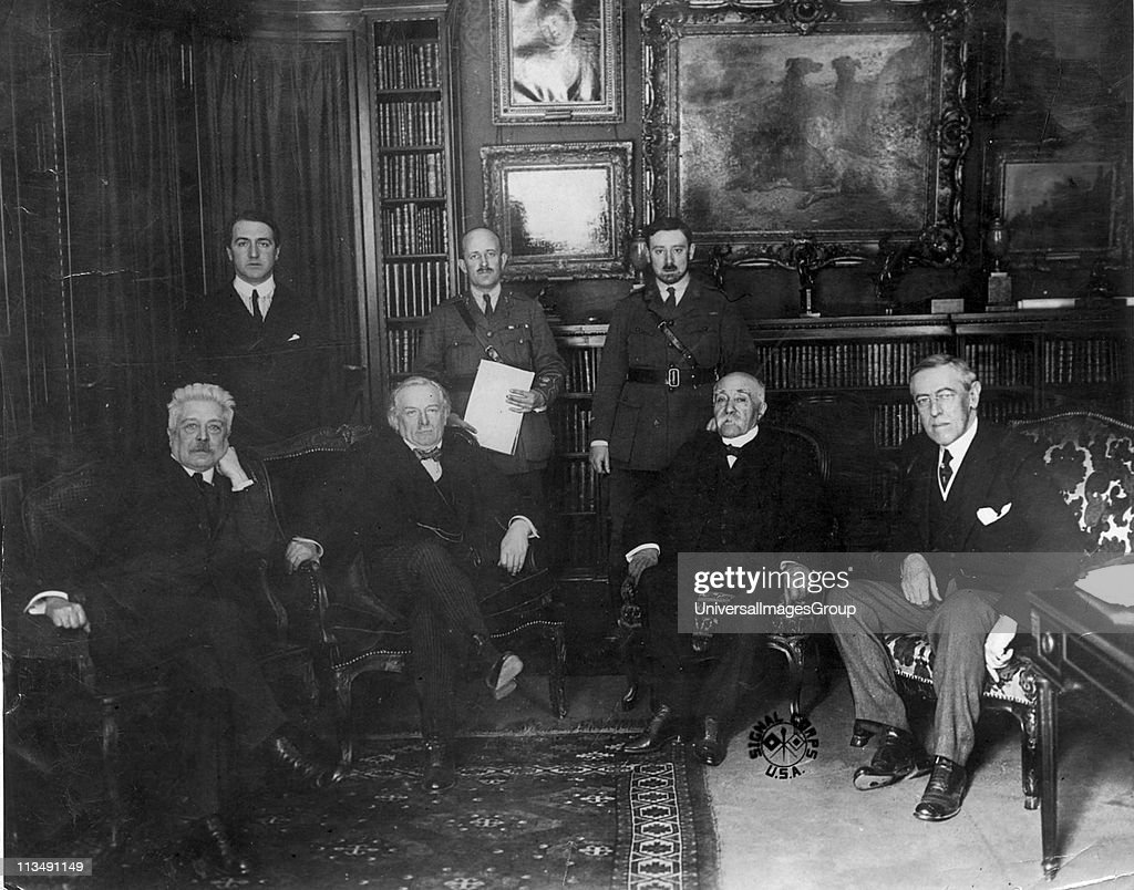 Council of Four at the Versailles Peace Conference 1918. Left to right: Vittorio Emmanuele Orlando, Prime Minister of Italy: David Lloyd George, Prime Minister of Britain: Georges Clemenceau, Prime Minister of France, and (Thomas) Woodrow Wilson, Presiden... : News Photo