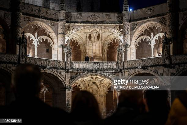Council president Charles Michel and Portuguese Prime Minister Antonio Costa visit the Jeronimos Monastery ahead of a ceremony inaugurating the...