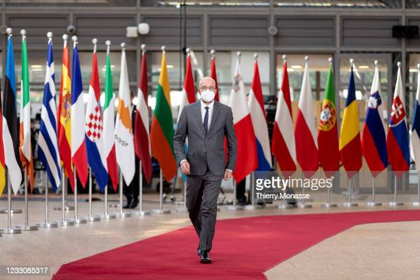 Council President Charles Michel arrives for an extraordinary EU Summit on May 24, 2021 in Brussels, Belgium. European Union leaders are expected,...