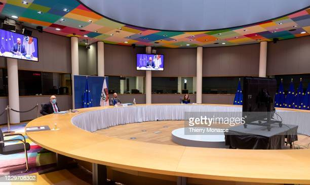 Council President Charles Michel attends a virtual G20 Summit in the Europa, the EU Council headquarter on November 21 in Brussels, Belgium. The...
