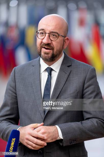 Council President Charles Michel talks to media as he arrives for an extraordinary EU Summit on May 24, 2021 in Brussels, Belgium. European Union...