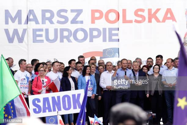 EU Council President Donald Tusk is seen speaking the Poland in Europe march in Warsaw Poland on May 18 2019 Many Poles are divided in their support...
