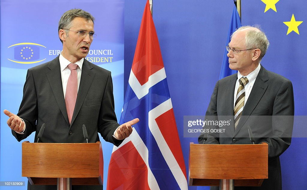 EU Council President Herman Van Rompuy (R) and Prime Minister of Norway Jens Stoltenberg hold a joint press conference after their working session on June 16, 2010 at the EU headquarters in Brussels.