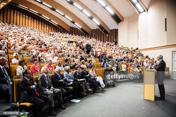 EU Council president Herman Van Rompuy gives a speech during a conference at the opening of the academic year at the UCL university in LouvainlaNeuve...