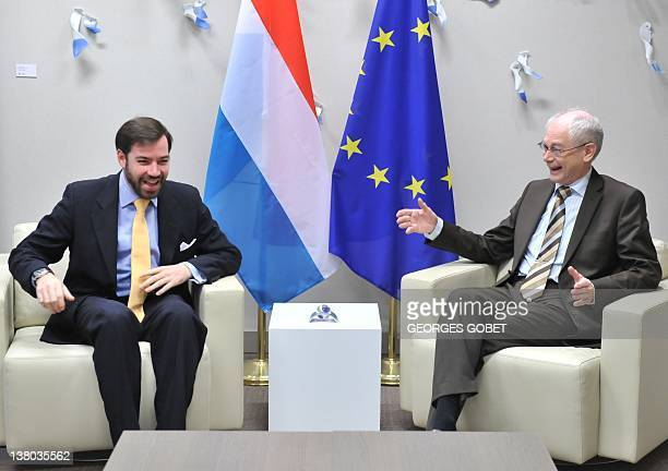 Council president Herman Van Rompuy welcomes hereditary Grand-Duke of Luxembourg Prince Guillaume on February 1, 2012 prior a working session at the...