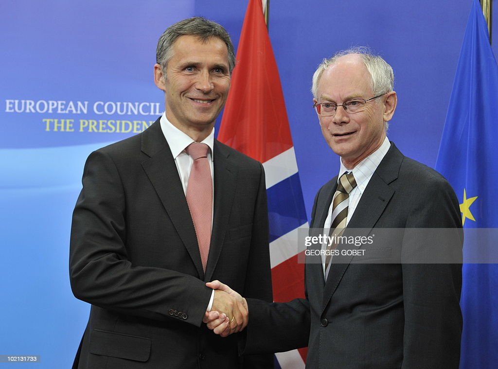 EU Council President Herman Van Rompuy (R) welcomes Norway's Prime Minister Jens Stoltenberg (L) prior their working session on June 16, 2010 at the EU headquarters in Brussels.