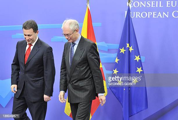 EU Council president Herman Van Rompuy welcomes Prime Minister of the Former Yugoslav Republic of Macedonia Nicola Gruevski on December 6 2011 at the...