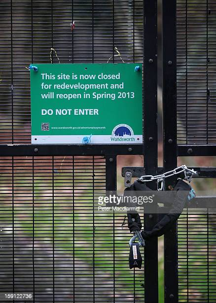A council sign states that Battersea Park adventure playground is closed on January 8 2013 in London England Activists and local residents oppose...