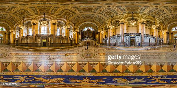 Council staff clean a section of the rarely seen Minton tiled floor of the grand St George's Hall on August 2 2013 in Liverpool England The exquisite...
