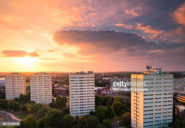 Council tower blocks in Birmingham City Centre at sunset