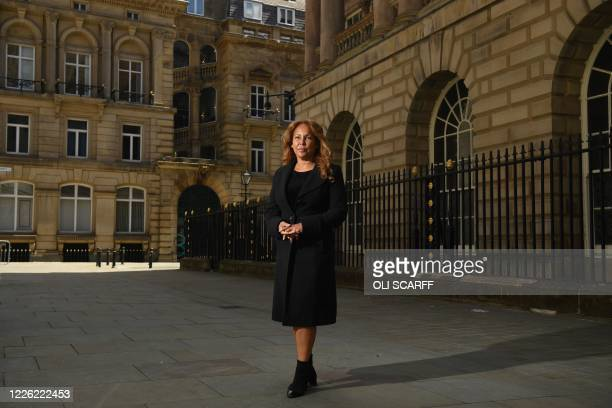 Councillor Anna Rothery, the Lord Mayor of Liverpool, poses for a photograph outside the Town Hall in Liverpool, northern England on July 6, 2020. -...