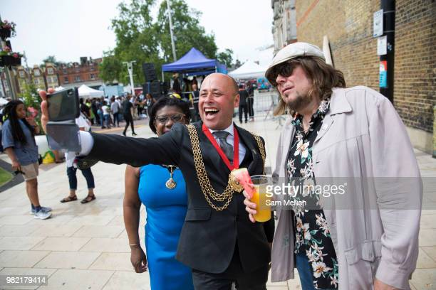 Councillor Christopher Wellbelove Mayor of Lambeth with Emita Griffith and Jerry Dammers founder keyboard player and primary songwriter of ska...