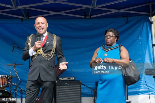 Councillor Christopher Wellbelove Mayor of Lambeth with Emita Griffith during the Windrush70 celebration on the 23rd June 2018 in Brixton in the...
