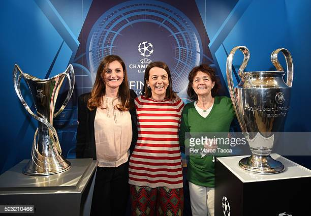 Councillor for Sports for the Municipality of Milan Chiara Bisconti and Milly Moratti pose during the press conference to present the UEFA Champions...