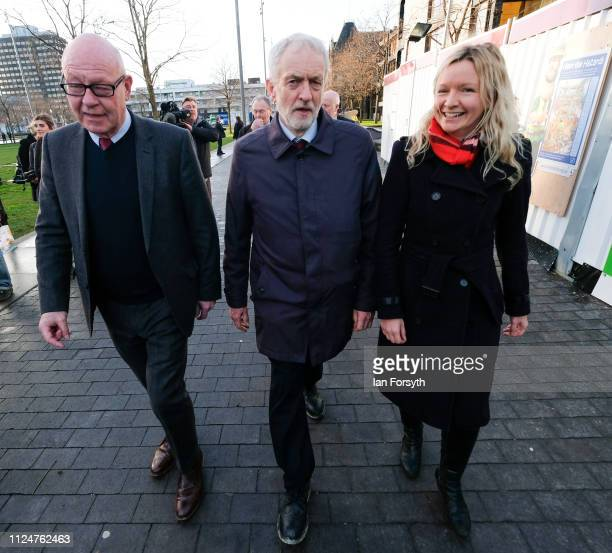 Councillor Mick Thompson Labour leader Jeremy Corbyn and Lauren Dingsdale Labour candidate for Middlesbrough South and East Cleveland visit...