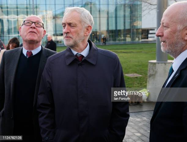 Councillor Mick Thompson Labour leader Jeremy Corbyn and Middlesbrough MP Andy McDonald visit Middlesbrough Centre Square on January 25 2019 in...