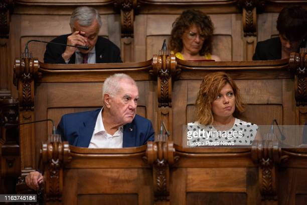 Councillors of ERC in Barcelona Ernest Maragall and Elisenada Alamany are seen during a extraordinary plenary session about Housing at Barcelona Town...