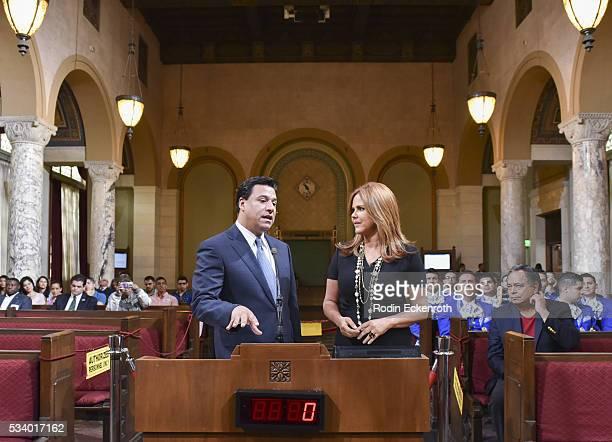 Councilman Jose Huizar and TV journalist Maria Celeste Arraras attend The City of Los Angeles Honors Maria Celeste Arraras at Los Angeles City Hall...