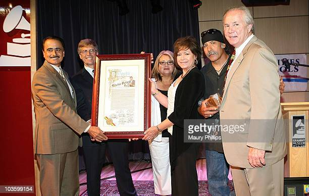 Councilman Richard Alarcon, grammy museum executive director Bob Santelli, Irma Norton, Connie Valens Lemos, Mario Ramirez and councilman Tom Labonge...