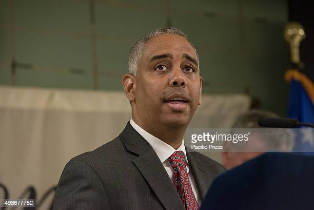 Councilman Ruben Wills speaks to the press. NYC Mayor Bill de Blasio, joined by NYPD Commissioner Bill Bratton and City Council Speaker Melissa...