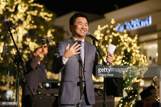Councilmember David Ryu speaks onstage at the Village Synagogue and Emmanuelle Chriqui Host Menorah Lighting Ceremony at The Grove on December 12...