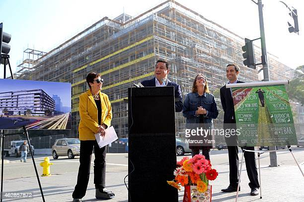 Councilmember Jose Huizar of the 14th district center welcomes Whole Foods into their first downtown location at 8th street and Grand Ave on February...