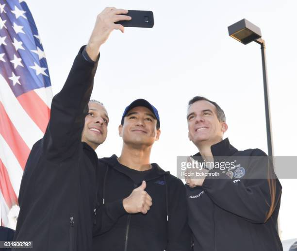 Councilmember Mitchell Englander TV host Mario Lopez and LA Mayor Eric Garcetti take selfie onstage at 2nd Annual Run To Remember at The Grove on...
