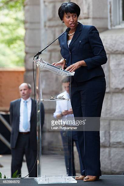 Councilmember Muriel Bowser speaks at the Trump International Hotel Washington, D.C Groundbreaking Ceremony on July 23, 2014 in Washington, DC.