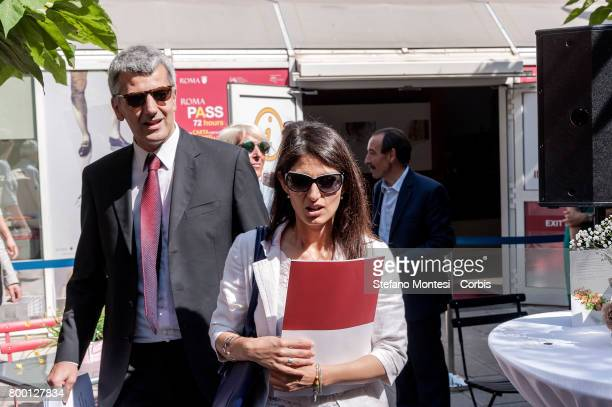 Councilor for Economic Development and Tourism of Rome Capital Adriano Meloni and Mayor of Rome Virginia Raggi during the inauguration of new...