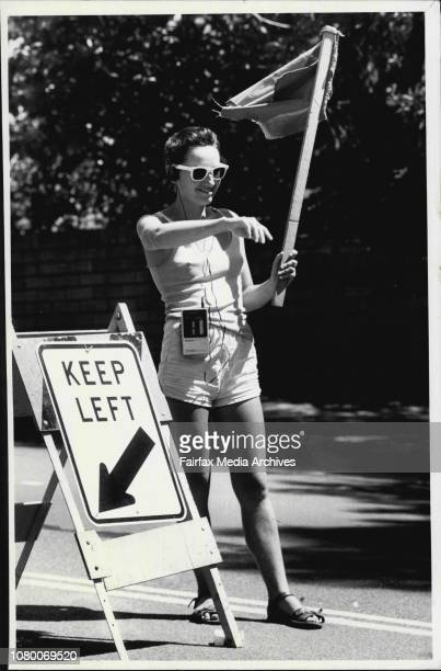 Councils Stop Go girls at Edgliff directing traffic around road works Bhajan 'BJ'Rear view Marieanne Butler March 13 1985
