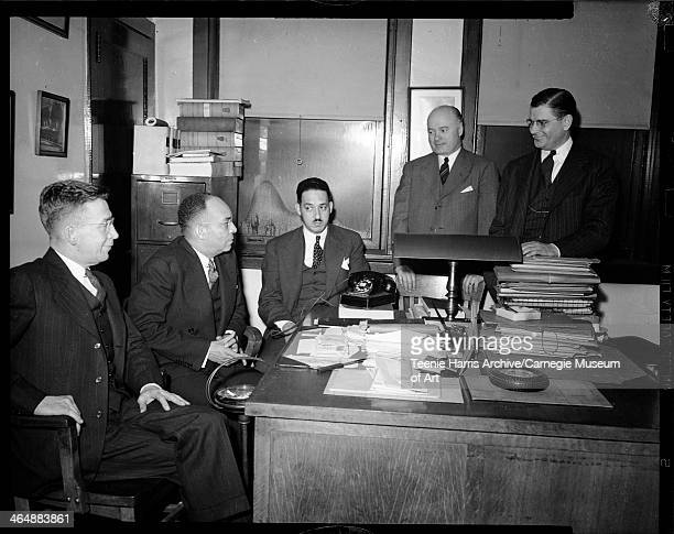 Vincent Smith Homer S Brown Thurgood Marshall George Sweeney and Marquis Smith posed in Brown's office Pittsburgh Pennsylvania February 1945
