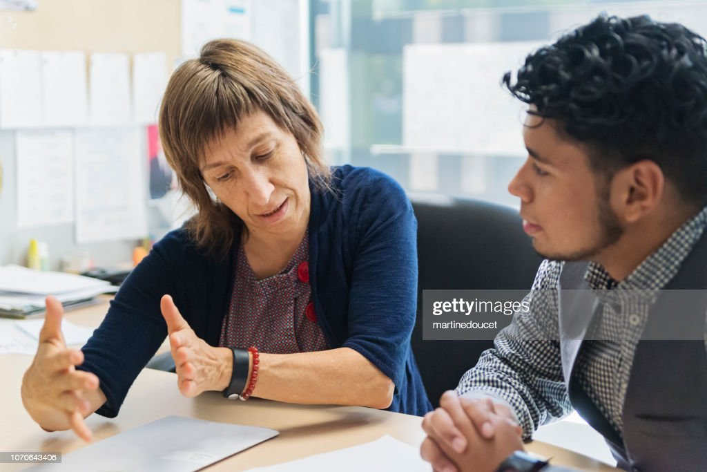 Counselling appointment for College student. : Stock Photo