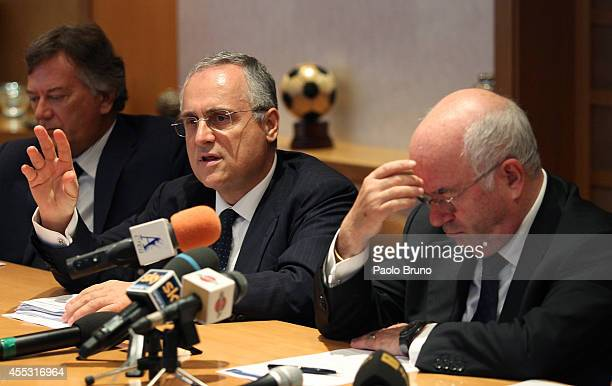 FIGC Counsellor Claudio Lotito and President FIGC Carlo Tavecchio attend a press conference after the Federal Council of the Italian Football...