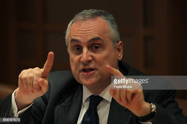 Counsellor FIGC Claudio Lotito attends a press conference after the Federal Council of the Italian Football Federation meeting on November 20 2014 in...