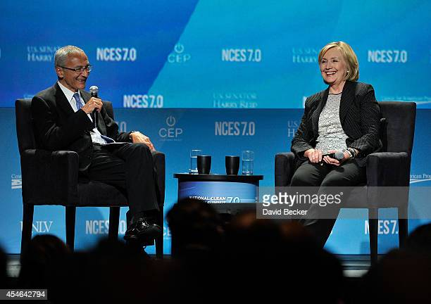 Counselor to President Barack Obama John Podesta and former Secretary of State Hillary Clinton attend the National Clean Energy Summit 70 at the...