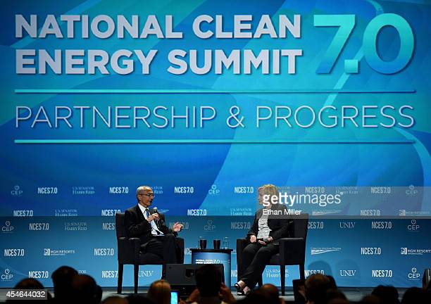 Counselor to President Barack Obama John Podesta and former Secretary of State Hillary Clinton speak at the National Clean Energy Summit 70 at the...