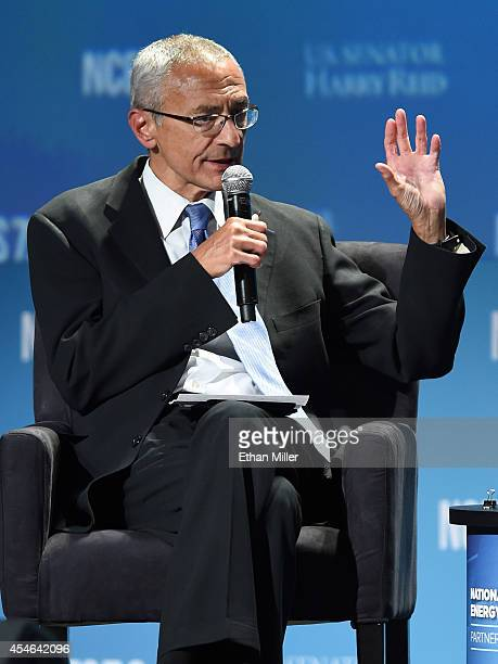 Counselor to President Barack Obama John Podesta speaks at the National Clean Energy Summit 70 at the Mandalay Bay Convention Center on September 4...