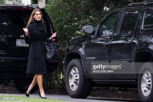 Counselor to President Donald Trump, Hope Hicks, arrives to ride the presidential motorcade as it departs the White House for the Trump International...