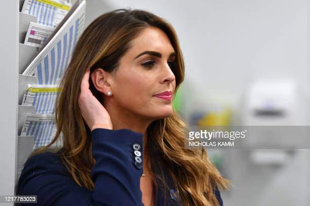 Counselor to President Hope Hicks looks on during a visit to the Puritan Medical Products facility in Guilford, Maine on June 5, 2020.
