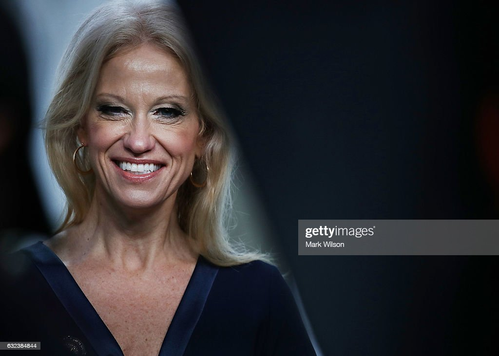 Counselor to President, Kellyanne Conway, appears on the Sunday morning show This Week with George Stephanopoulos, from the north lawn at the White House, January 22, 2017 in Washington, DC. Conway discussed President Trump's recent visit to the CIA and White House Press Secretary Sean Spicer's first statement.