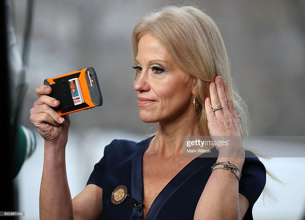 Kellyanne Conway Speaks To Morning Shows From Front Lawn Of White House : News Photo
