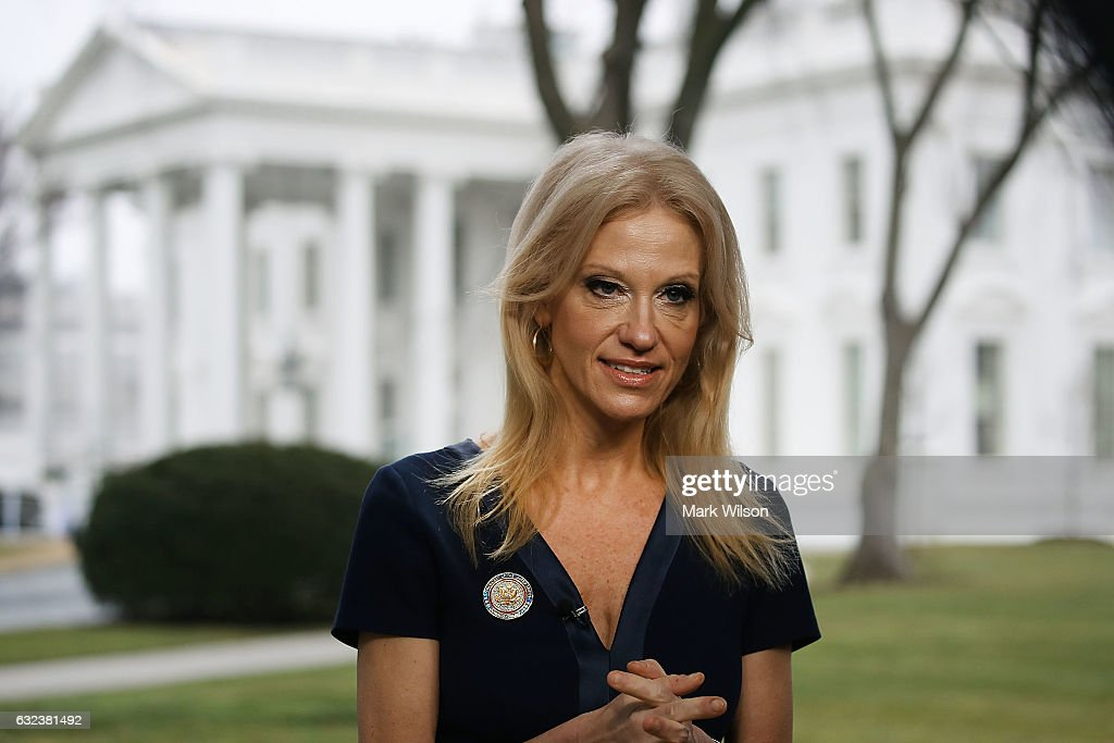 Counselor to President, Kellyanne Conway, prepares to appear on the Sunday morning show Meet The Press, from the north lawn at the White House, January 22, 2017 in Washington, DC. Conway discussed President Trump's recent visit to the CIA and White House Press Secretary Sean Spicer's first statement.