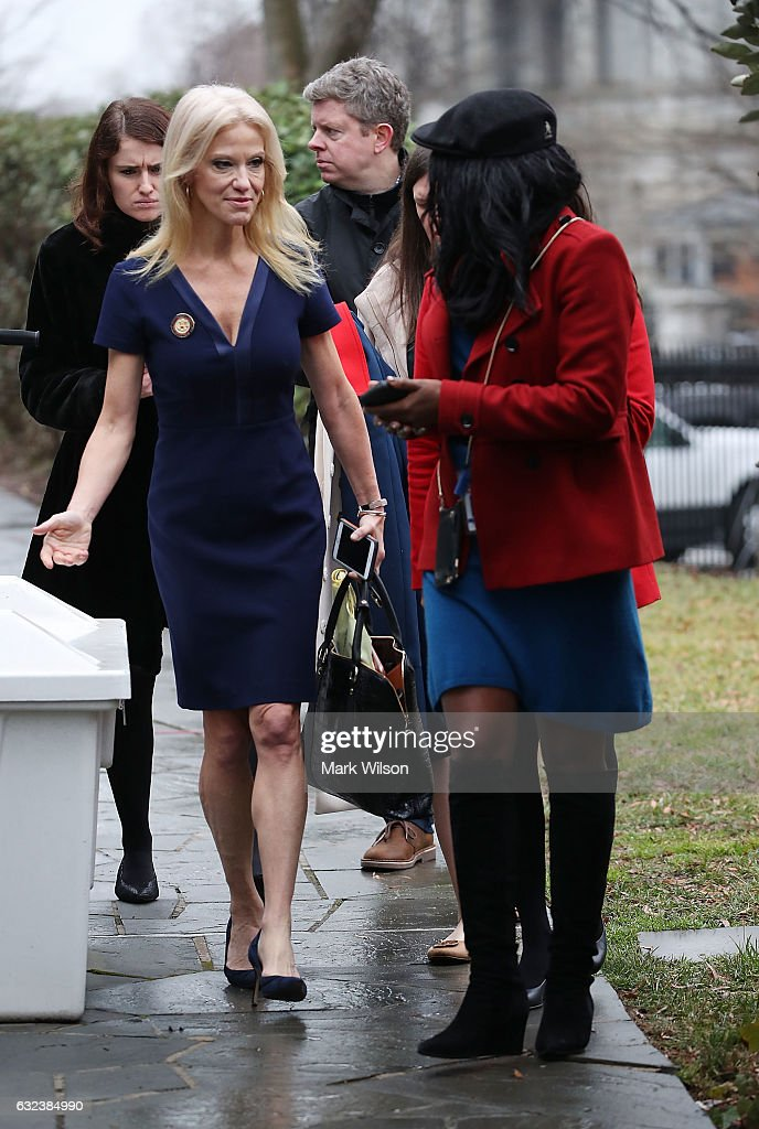 Counselor to President, Kellyanne Conway, talks with members of the media before appearing on the Sunday morning talk shows the north lawn at the White House, January 22, 2017 in Washington, DC. Conway discussed President Trump's recent visit to the CIA and White House Press Secretary Sean Spicer's first statement.