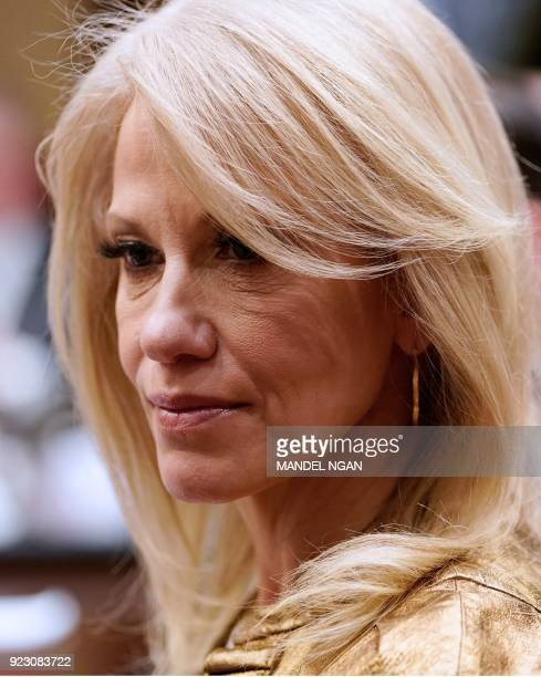 Counselor to the President Kellyanne Conway attends a meeting with state and local officials on school safety in the Roosevelt Room of the White...