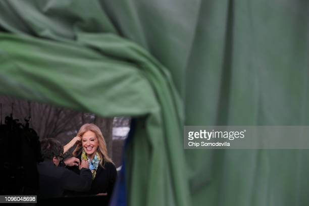 Counselor to the President Kellyanne Conway prepares for a television interview with FOX News at the White House January 18 2019 in Washington DC...