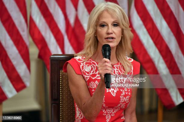 "Counselor to the President Kellyanne Conway speaks during the ""Getting America's Children Safely Back to School"" event in the State Room of the white..."
