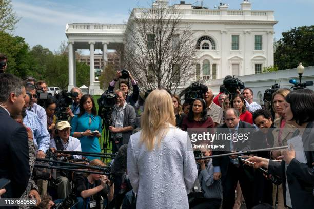 Counselor to the President Kellyanne Conway speaks to reporters outside of the White House April 18 2019 in Washington DC Today the Department of...