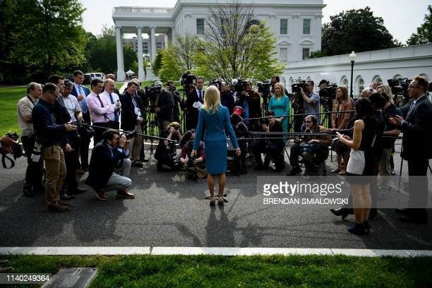 Counselor to the President Kellyanne Conway speaks to the press outside the White House after doing a TV interview on April 30 in Washington DC